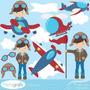Kit Imprimible Piloto Aviones 2 Imagenes Clipart