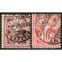 Suiza Antigua Serie X 2 Sellos Usados Cifras Años 1882-89