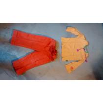 Pantalón Corderoy Naranja Con Detalles Talle 2 Mimo