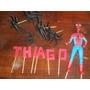 Adorno De Torta Hombre Araña Con Arañas Y Nombre