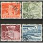 Suiza Serie X 4 Sellos Usados Viaducto = Tren = Embalse 1949