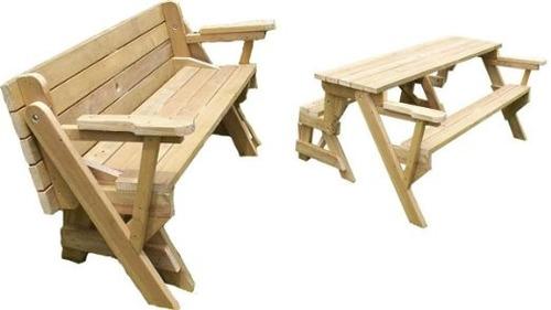Juego de banco mesa plegable de jard n para exterior 4 a 8 for Mesa y banco de jardin