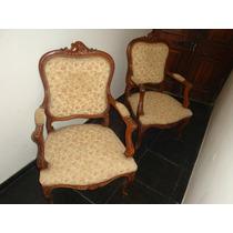 Oferta par de sillones luis xiv en nogal tapizados - Sillones antiguos tapizados ...