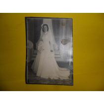 Antigua Fotografia Foto Mujer Vestido Novia Ramo Encaje Tul