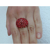 Anillo Acero Y Cubics Kitsch Rojo Rubí, Nuevo En Caja
