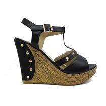 Sandalias C/ Plataforma Zapatos Tachas Chocolate Ultima Moda