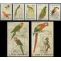 Fauna - Aves - Loros - Santo Tomé - Serie + 2 Blocks Mint