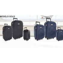 Set De 3 Valijas Gold Ideal Viaje De Egresados Semi Rigidas
