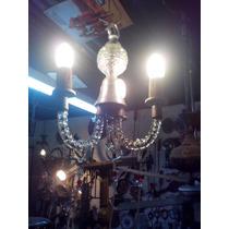 Araña De Vidrio Con Caireles. 3 Luces. Restaurada #155