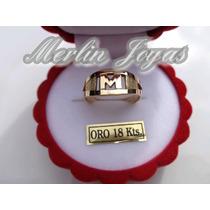 Anillo Oro 18k Inicial - 2.5 Gramos - Economico - M. J. -