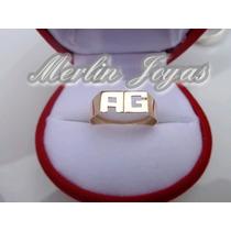 Anillo Oro18k Doble Inicial- 2 Gramos -economico - M. J. -