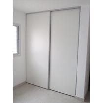 Frente Placard Corredizo De Aluminio Con Puertas Blancas