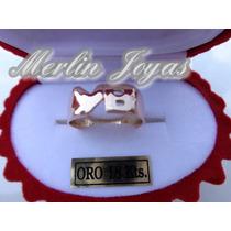 Anillo Oro 18k Doble Inicial- 2 Gramos - M. J. -