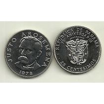 Moneda Panama 25 Centesimos Año 1978 Justo Arosemena 75 Aniv