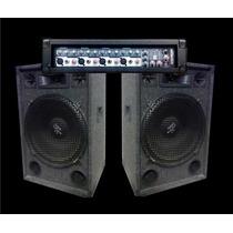 Combo Amplificador 5 Entradas Con Usb + 2 Bafles De 15 Full