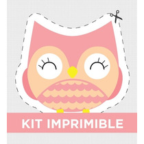 Kit Imprimible Buho Cute Cumple Bautismo Golosinas Souvenirs
