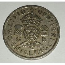 Moneda Two Shillings 1951 Gran Betraña - Cobre/niquel 28mm