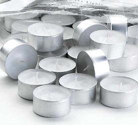 100 Velas De Noche Blancas A Granel Con Vasito Metalico