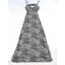 Vestido Largo Animal Print Espalda Descubierta Talle S