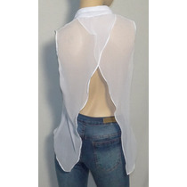Camisa De Gasa Blanca Sin Mangas, Octanos Oficial - Leila