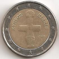 Chipre, 2 Euro, 2008. Bimetalica. Xf