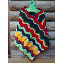Poncho Artesanal Tejido Al Crochet Nena, Saco, Campera