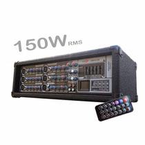 Consola Mixer Potenciada 6 Canales C/usb 150w Rms