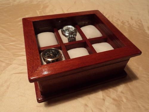 Caja de madera para guardar 6 relojes regalo empresarial - Cajas de madera para regalo ...