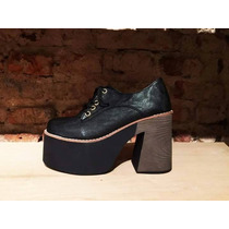 Zapato Acordonado Mujer De Cuero Ecológico C/ Plataforma