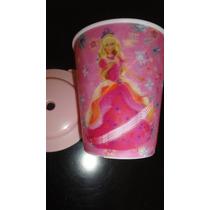 Souvenirs X11 Vasos De 250ml Barbie Tapa Y Sorbete