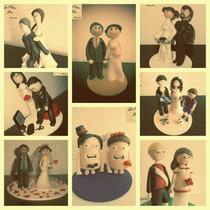 Adornos Para Torta. Muñecos De Casamiento. Motivo De Fútbol.
