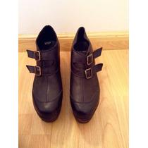 Zapatos S/cuero Con Plataforma De Madera Sofia De Grecia