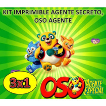 Kit Imprimible Agente Secreto, Oso Agente