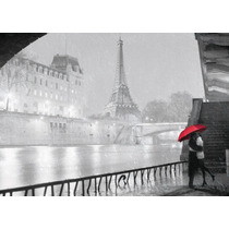 Pareja Torre Eiffel En Tela Canvas Bastidor De100x70 Cm