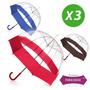 Set X 3 Paraguas Campanita Familiar Transparentes Reforzados