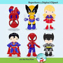 Kit Imprimible Chicos Superheroes 9 Imagenes Clipart