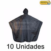 Poncho Capa Para Lluvia Unisex De Adulto Color Negro Pvc 10u