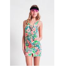 Vestido Con Flores Fluo Super Comodo!! Mujer Basilotta