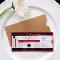 Tarjeta + Sobre Ticket Pasaje De Avion Casamiento Invitacion