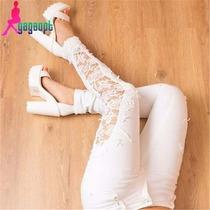 Jeans Reina Paris Blanco Con Encaje Y Roturas Por Mayor