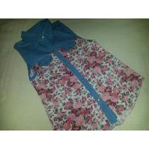 Camisa Floreada Fibrana Combinada Nena Talle 14- Oferta
