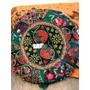 Almohadón Circular De India Bordados,exclusivos.16cm.espesor