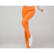 Pantalon Naranja Colores Tiro Bajo Mujer Importado Jean