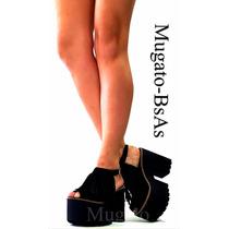 Zapatos Sandalias Con Flecos Plataforma De Madera