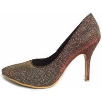 Zapatos Stilettos De Fiesta Color Dorado