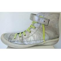 Zapatillas Botita Acordonada 41 Eco-cuero Plata (ana.mar)