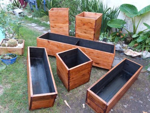 Macetero de madera para exterior o interior en venta en for Maceteros de madera para interior