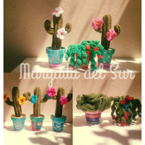 Amigurumi . Cactus Tejidos Al Crochet Con Macetas Pintadas
