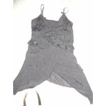 Vestido Importado Formal Con Encaje Y Picos. Seda Fria
