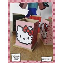 Souvenirs Lapicero Personaliza Madera Minecraft Hello Kitty